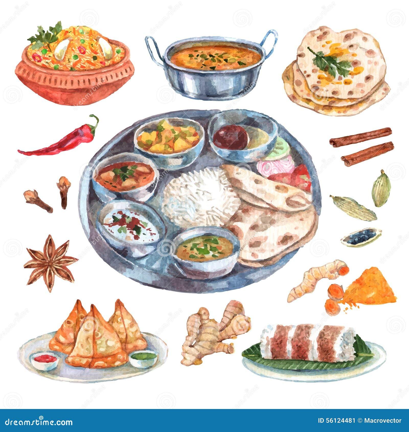 Composición India De Los Ingredientes Alimentarios Del Restaurante ...