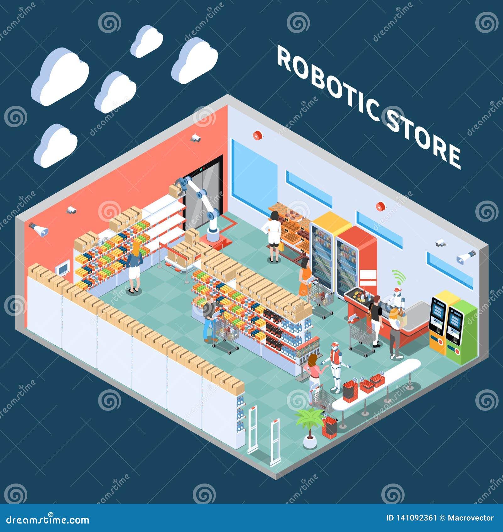 Composición isométrica de la tienda robótica