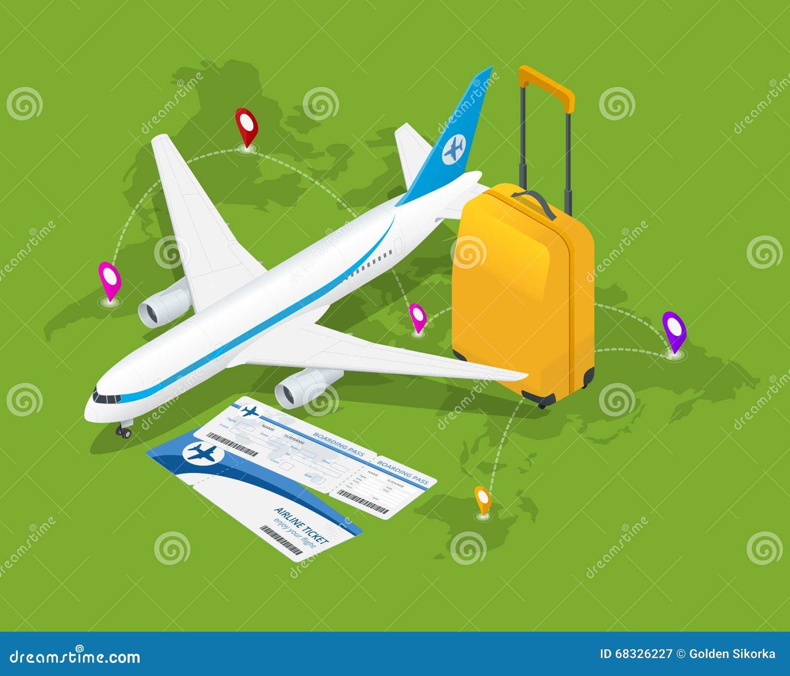 Composición isométrica del viaje Fondo del viaje y del turismo Ejemplo plano del vector 3d Diseño de la bandera del viaje Viajes