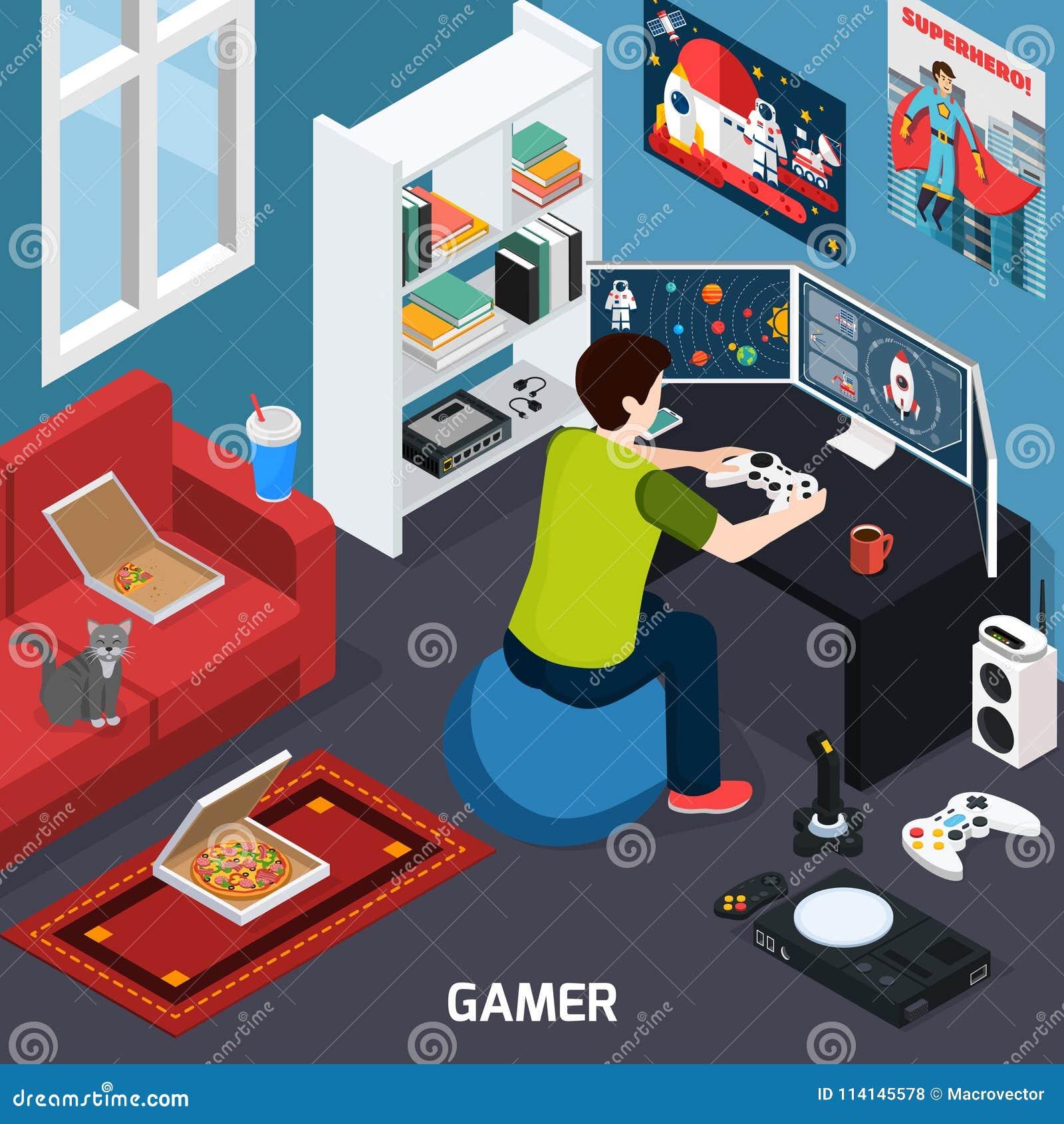 Composición isométrica del videojugador