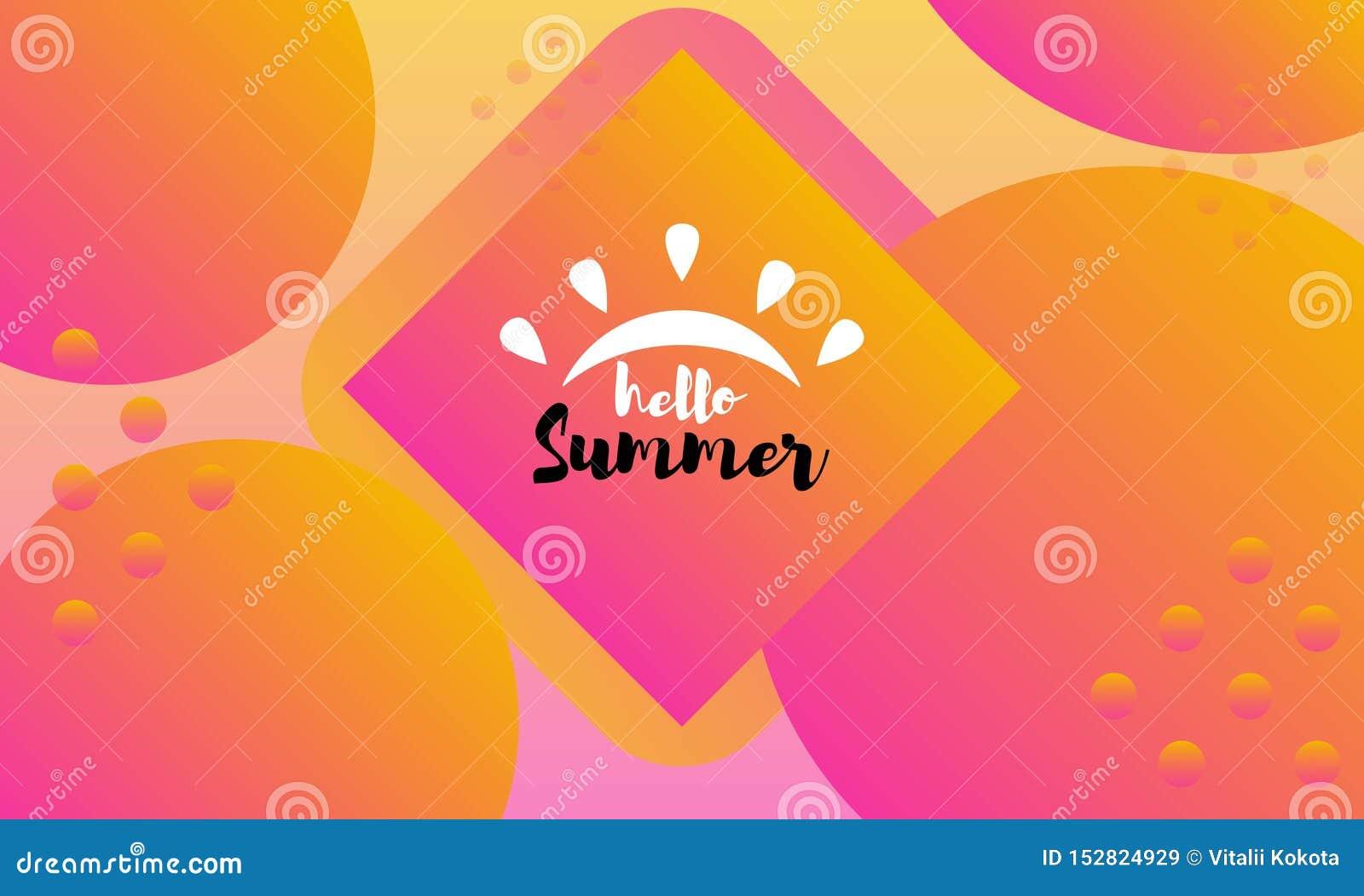Composici?n de las letras del cepillo Hola verano Ilustraci?n EPS10 del vector