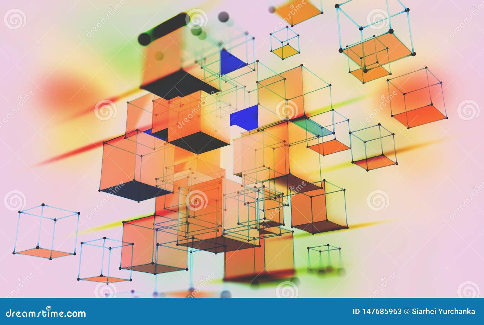 Composici?n geom?trica abstracta Cubos volumétricos en un fondo ligero