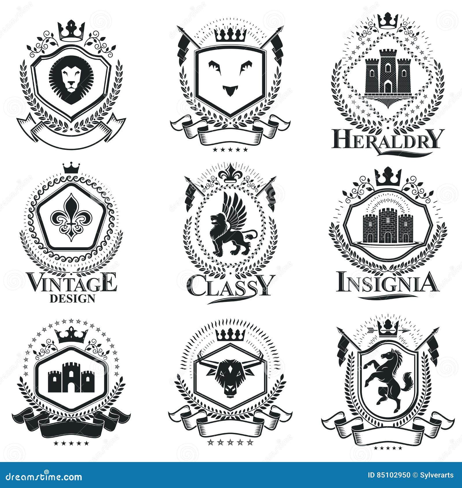 Composiciones decorativas de los emblemas del vintage, vectores heráldicos clase