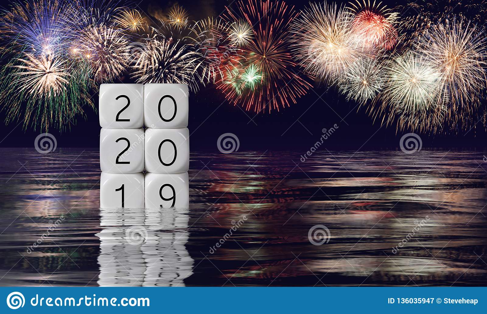 Composite of fireworks and calendar for 2020 New Year holiday background