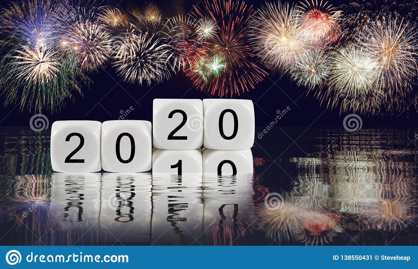 Composite of fireworks for New Year 2020 background
