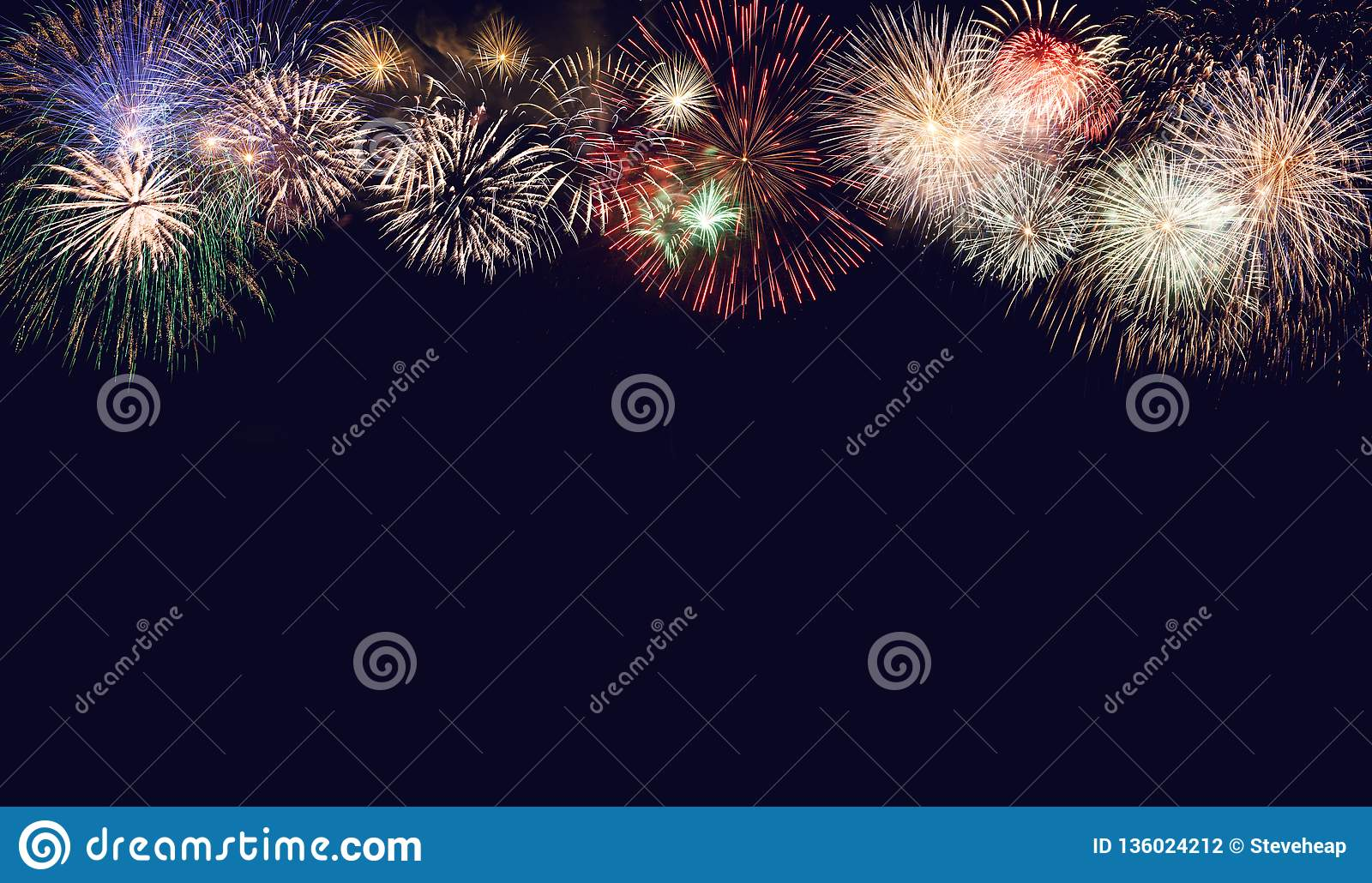 Composite of fireworks for New Year for holiday background