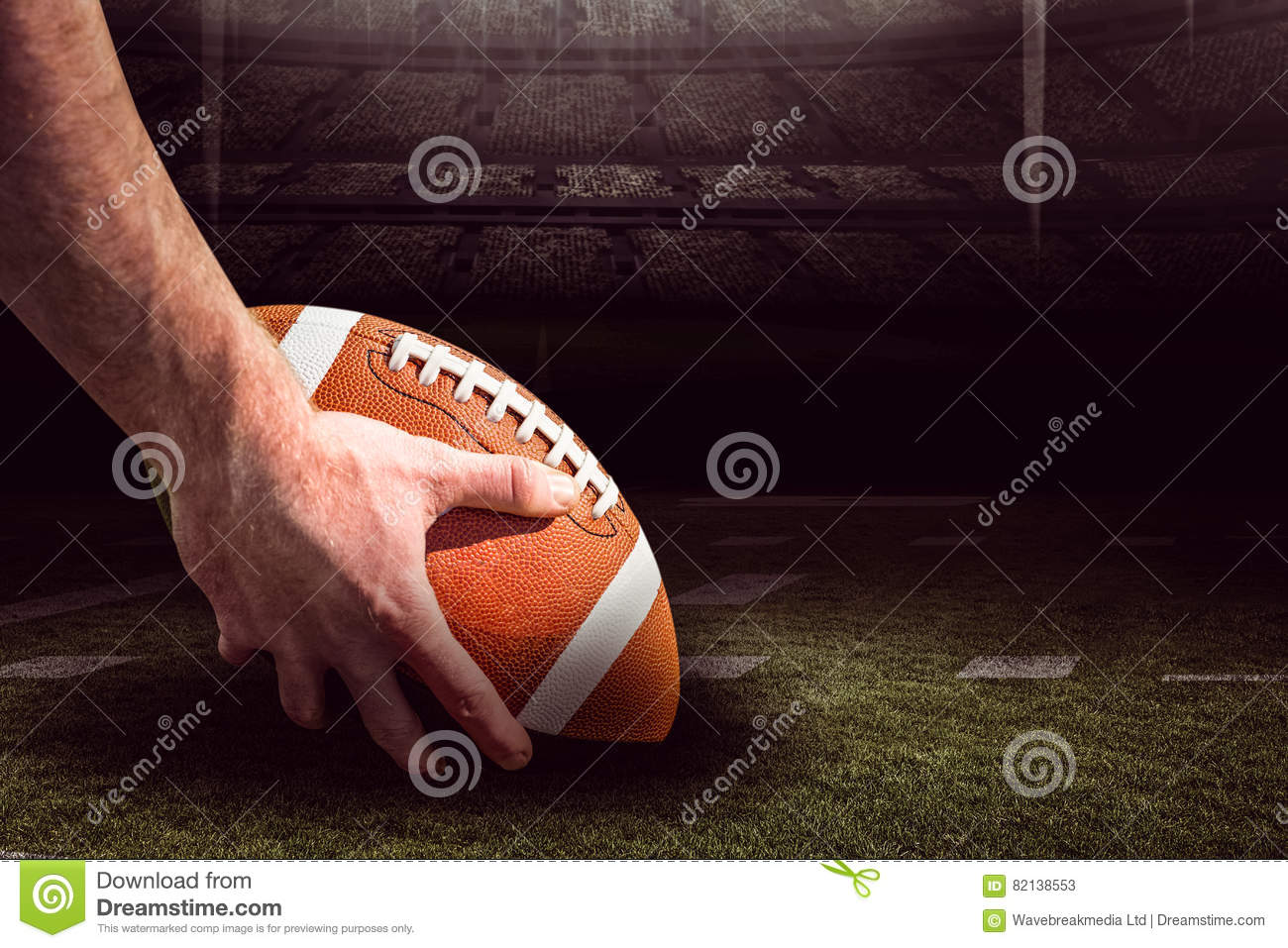 Composite Image Of American Football Player Preparing For A