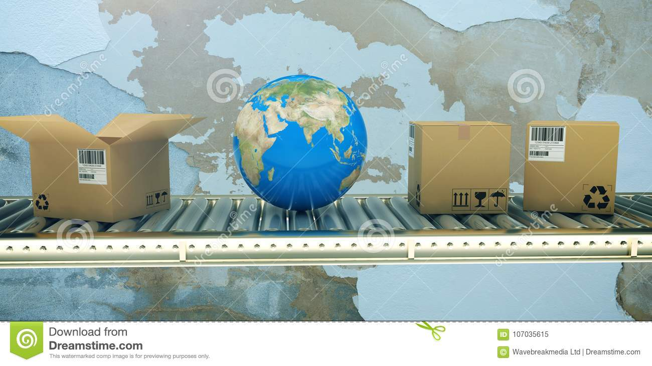 Composite image of blue globe and boxes on 3d conveyor belt
