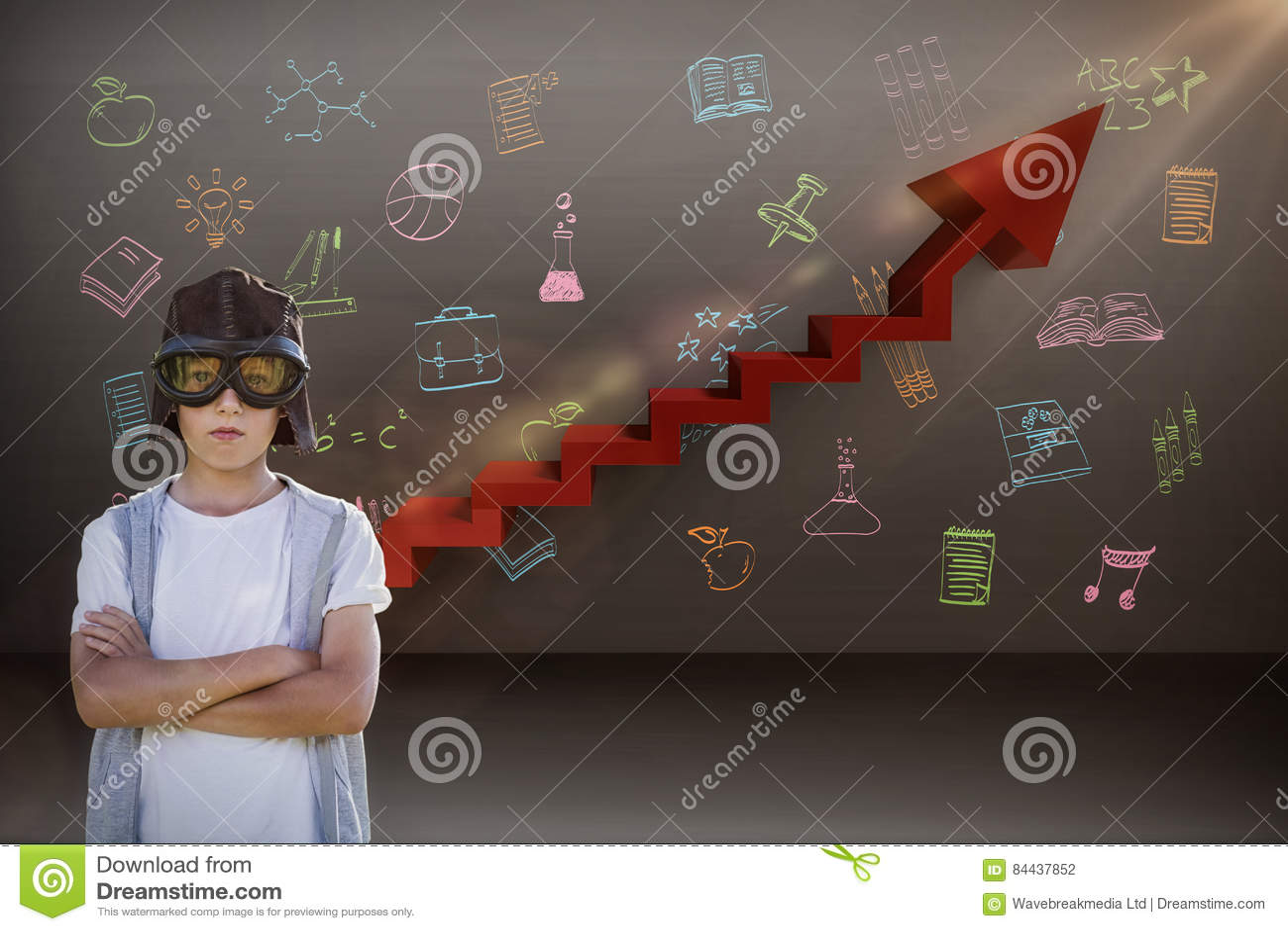 Composite image of boy pretending to be an aviation pilot