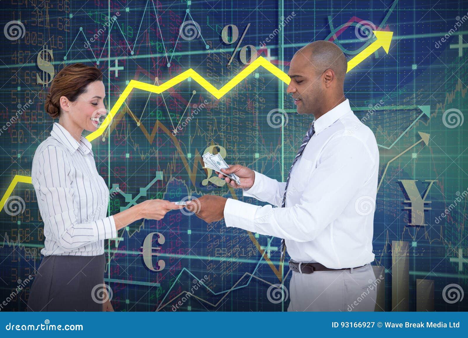 Composite image of businessman handing over money to businesswoman