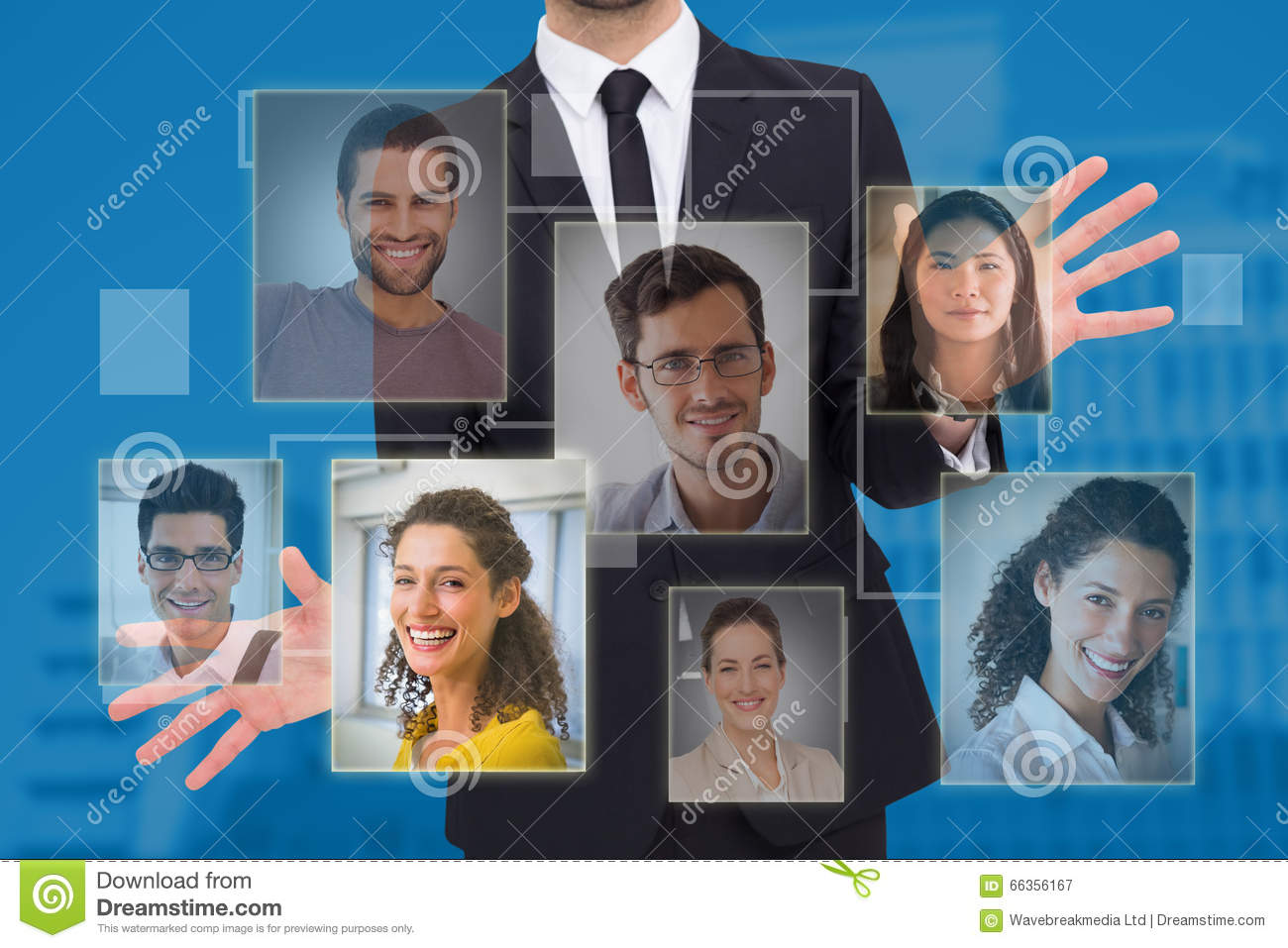 Composite image of businessman standing with hands spread out