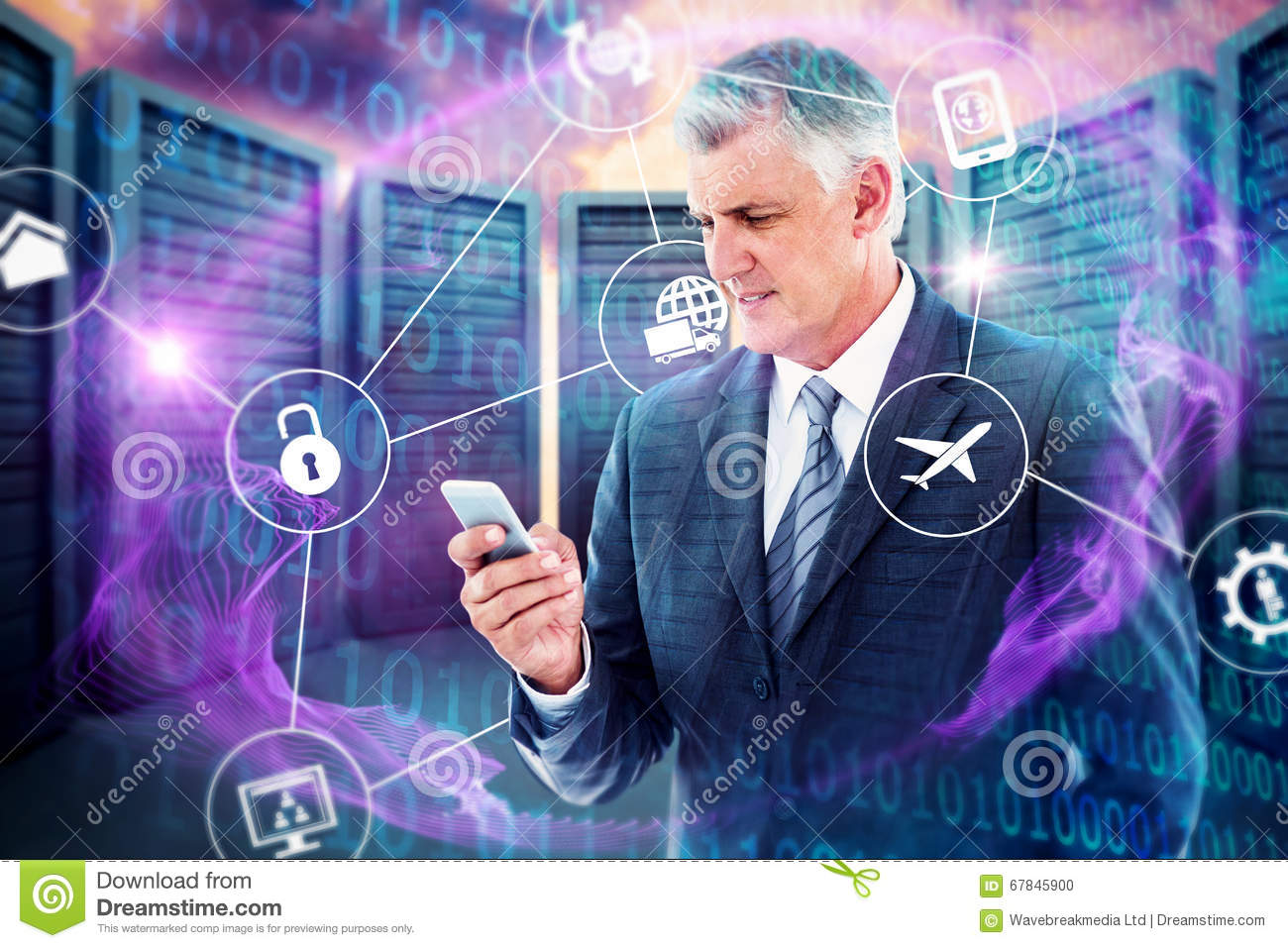 Composite image of businessman using his smartphone