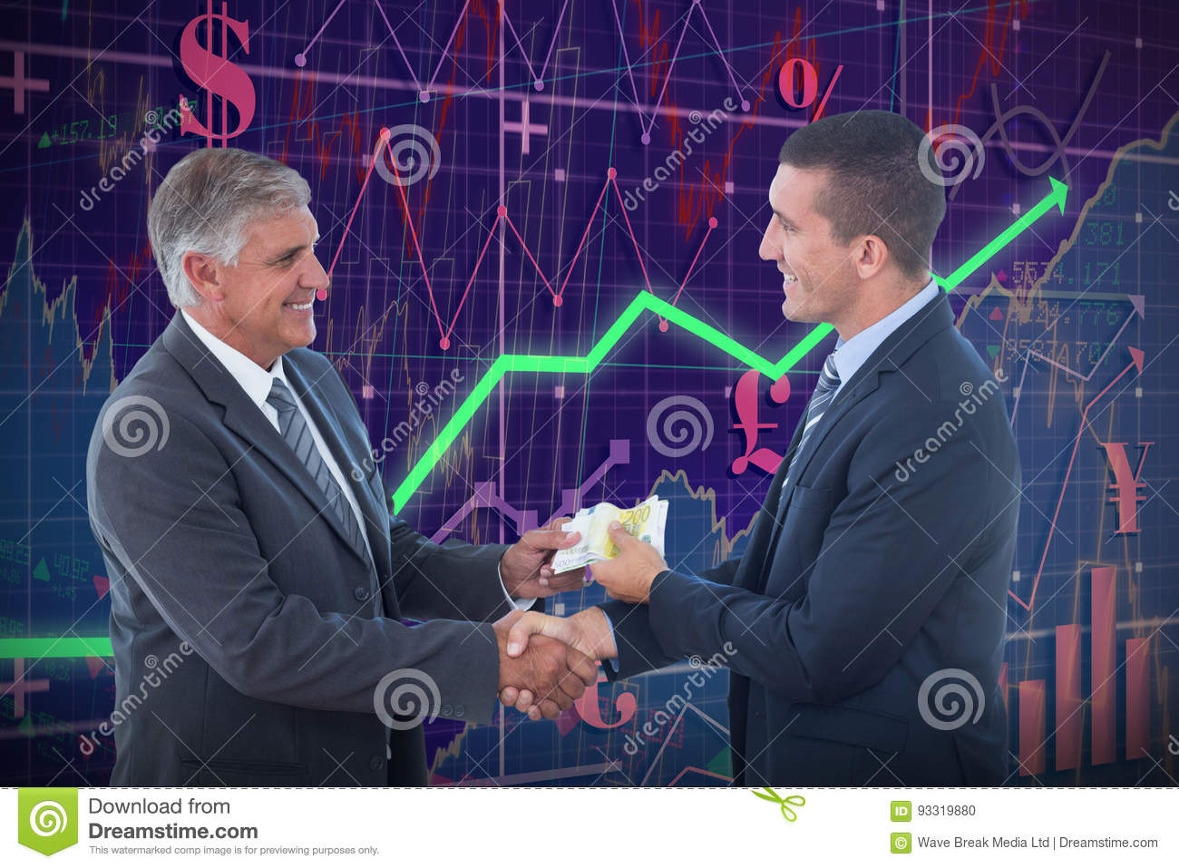 Composite image of businessmen shaking hands and exchanging money