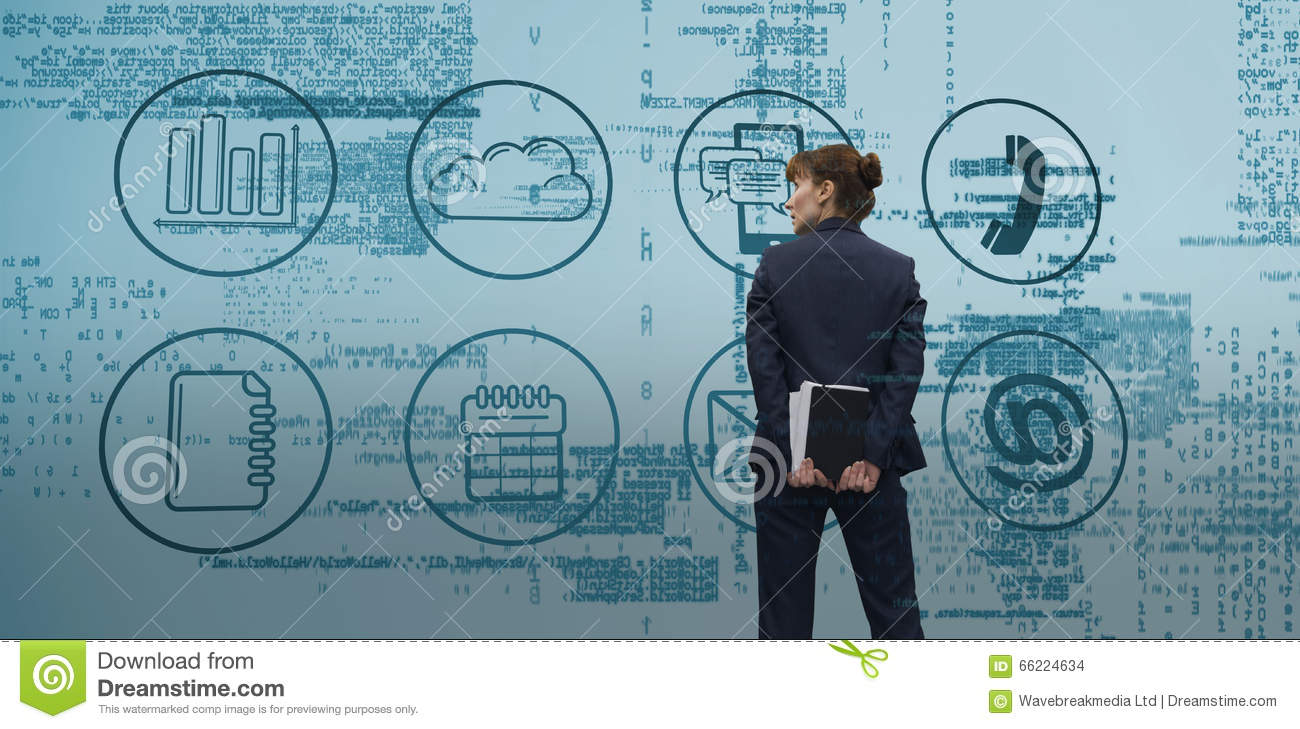 Composite image of businesswoman looking