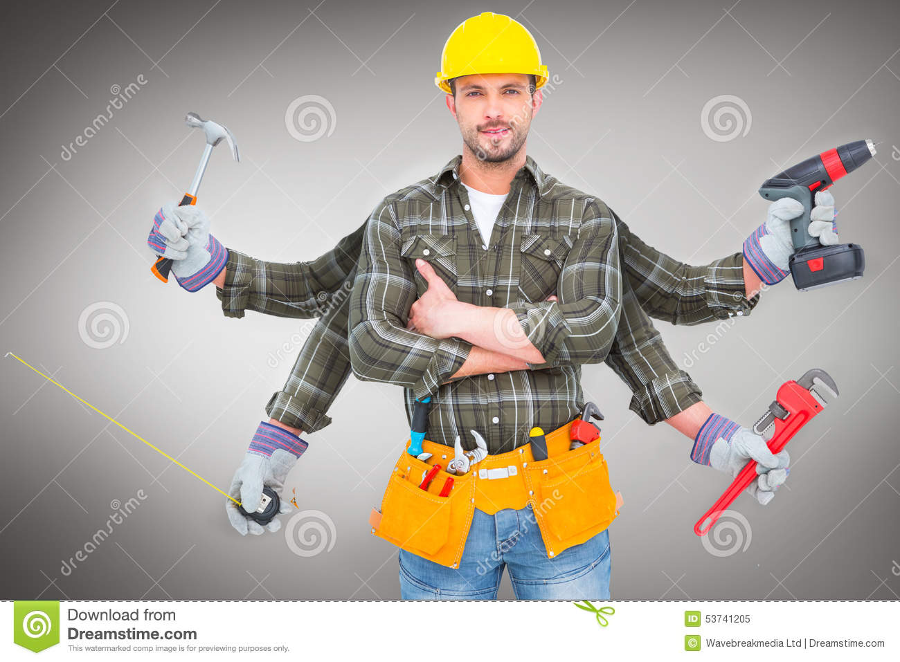 Composite Image Of Carpenter With Many Arms Stock Photo Image 53741205