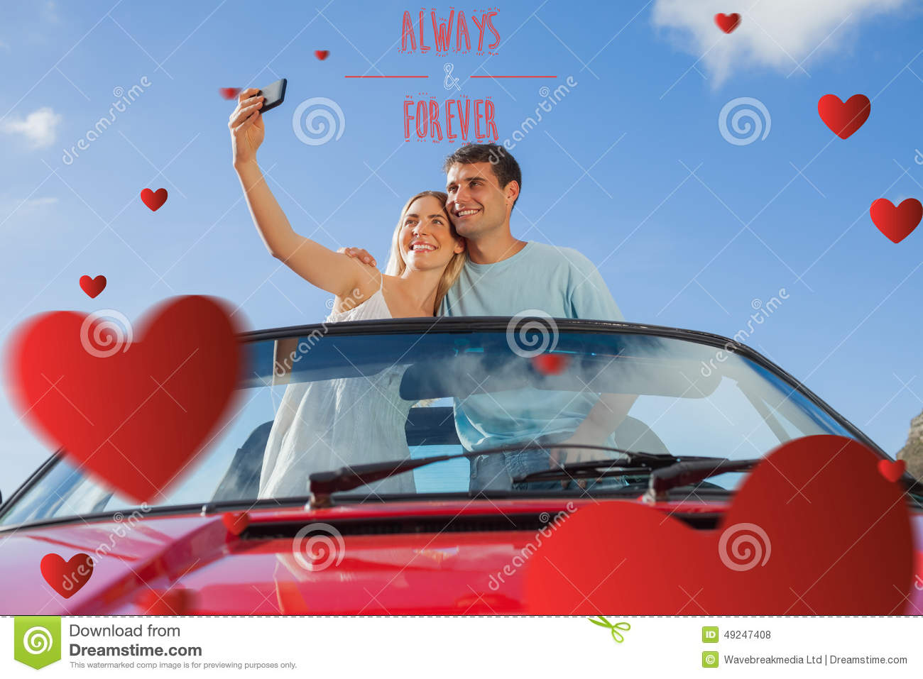 Composite image of cheerful couple standing in red cabriolet taking picture