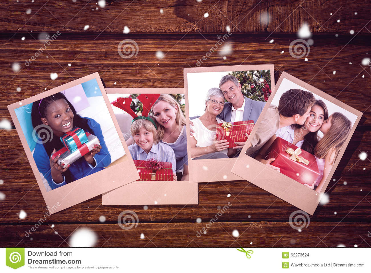 Composite image of cheerful woman holding a present sitting on the floor