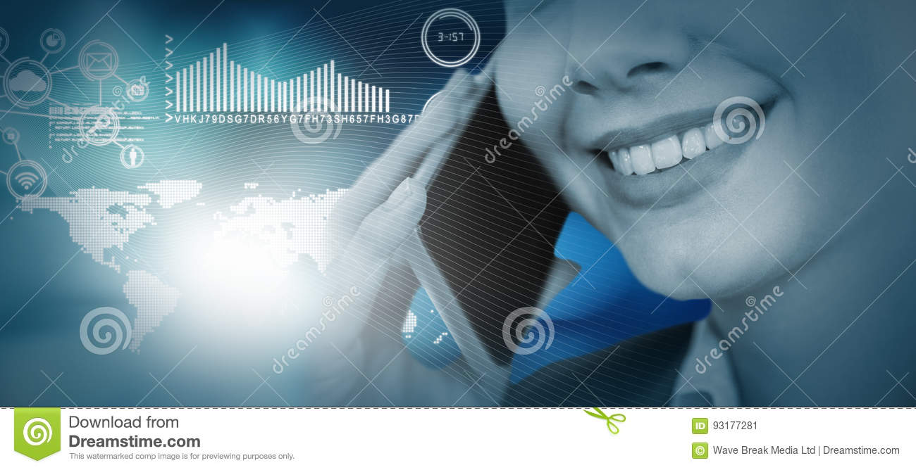 Composite image of close up of smiling businesswoman talking on mobile phone