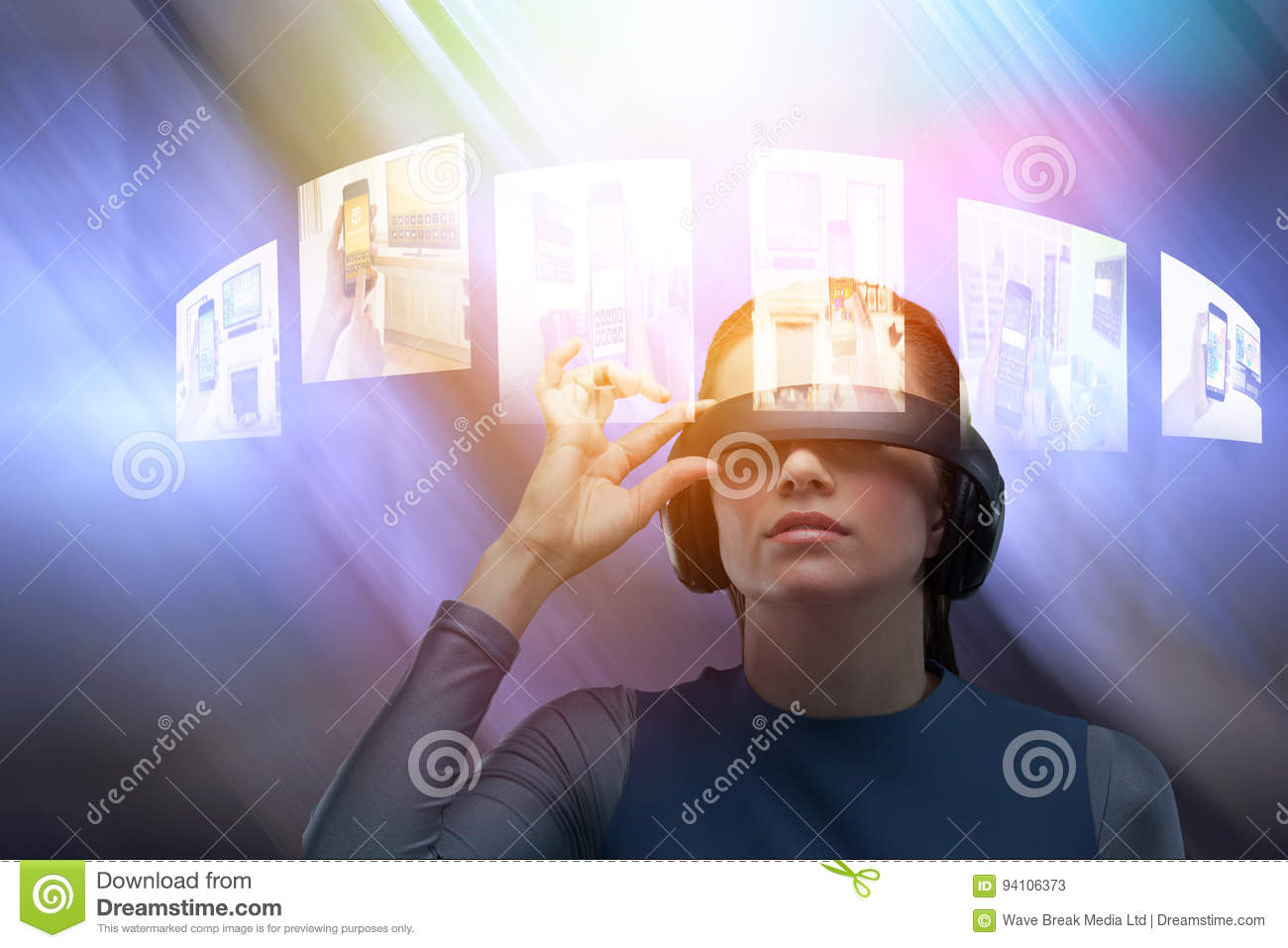 5eb6c96887b Close up of woman trying virtual reality simulator against table and empty  chairs in office