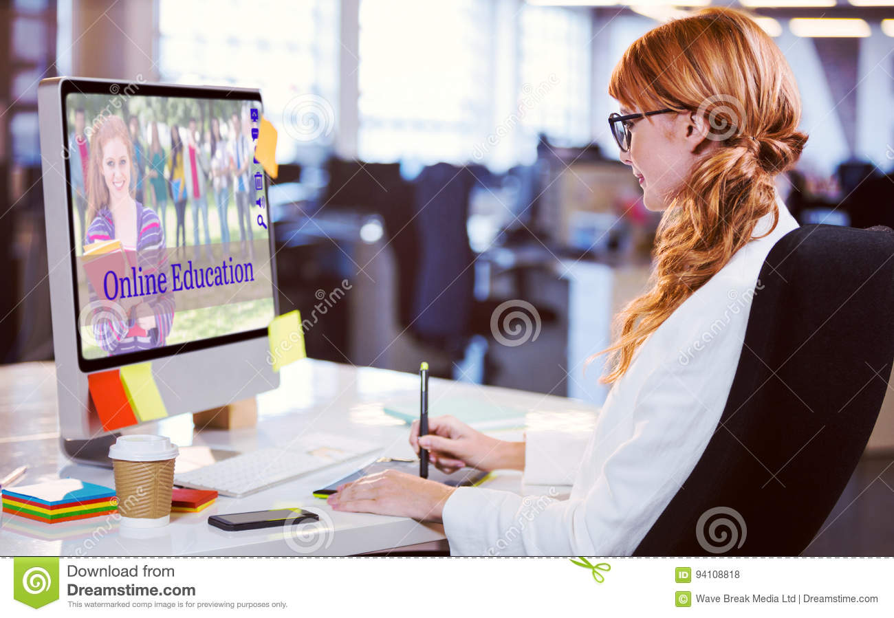 Composite image of composite image of students for online courses