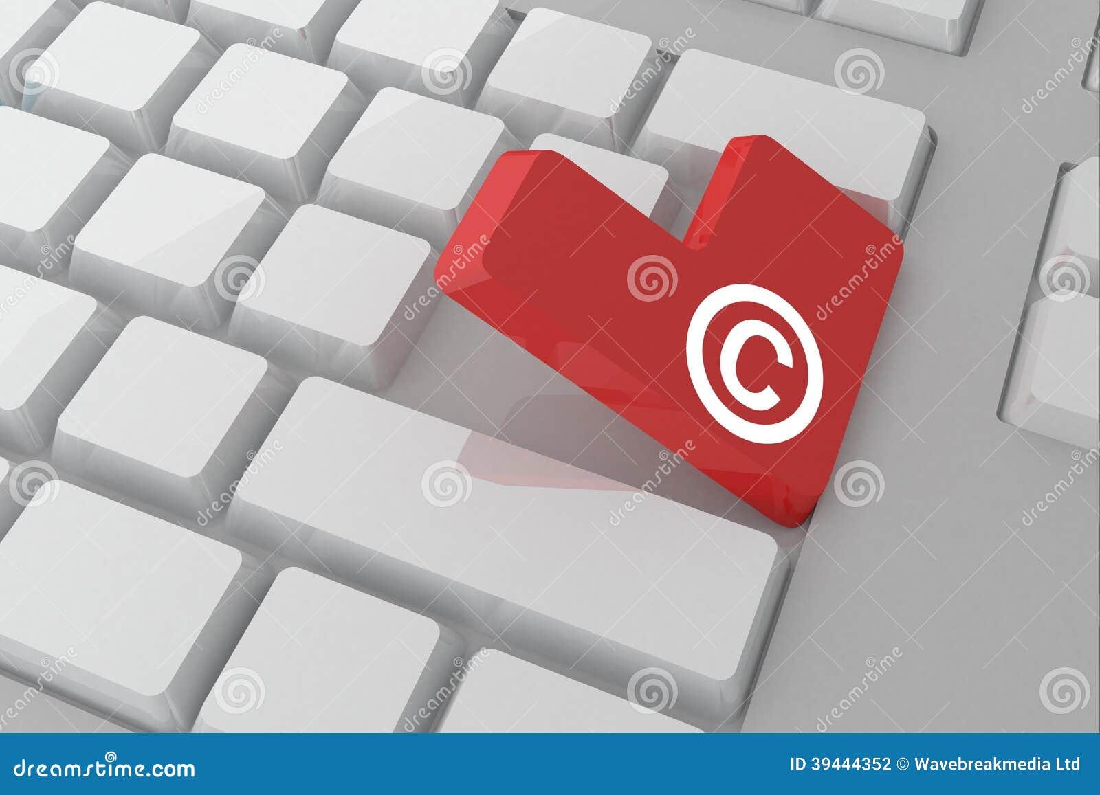 Composite Image Of Copyright Symbol On Key Stock Illustration