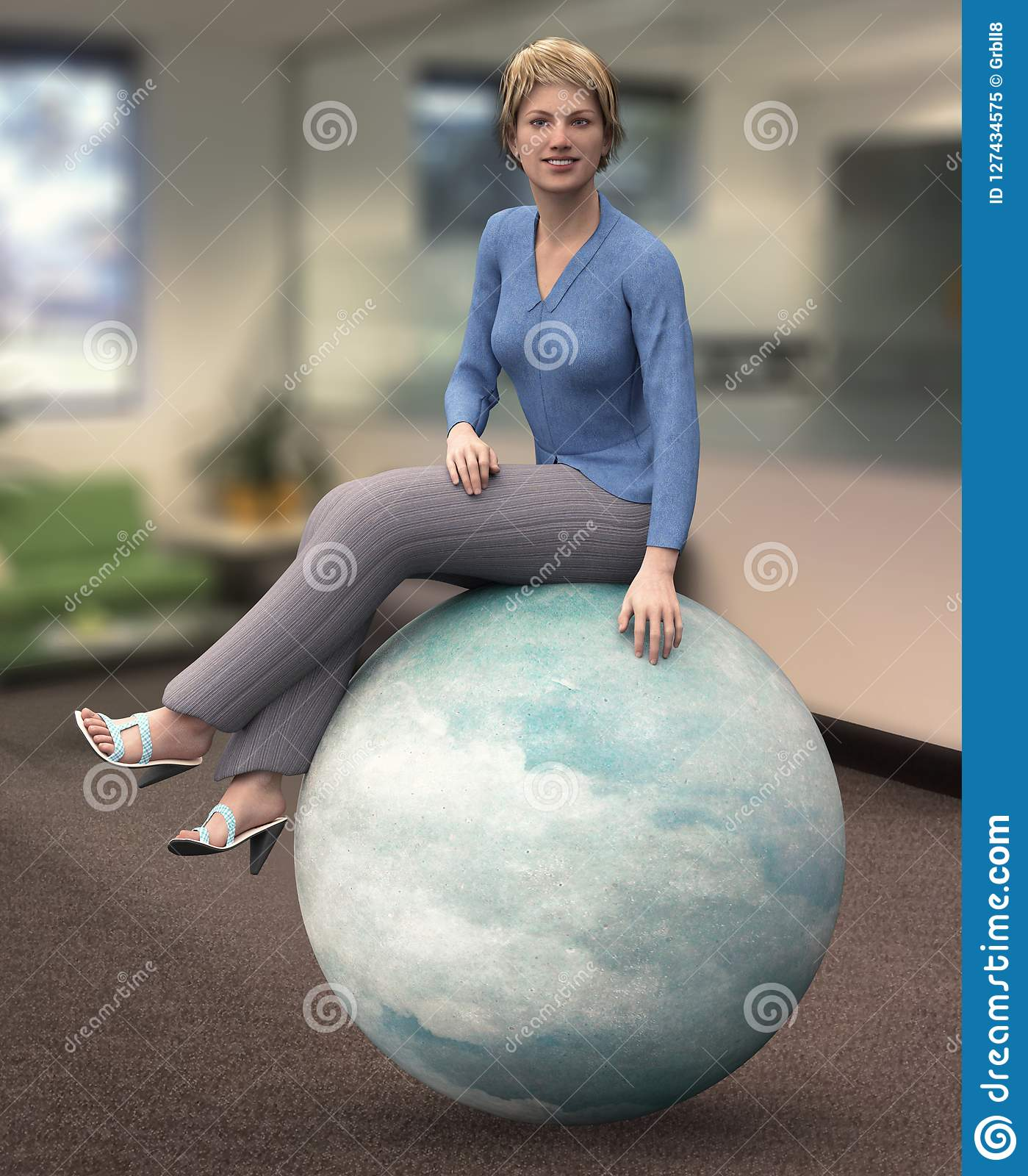 She`s on the ball concept business idiom
