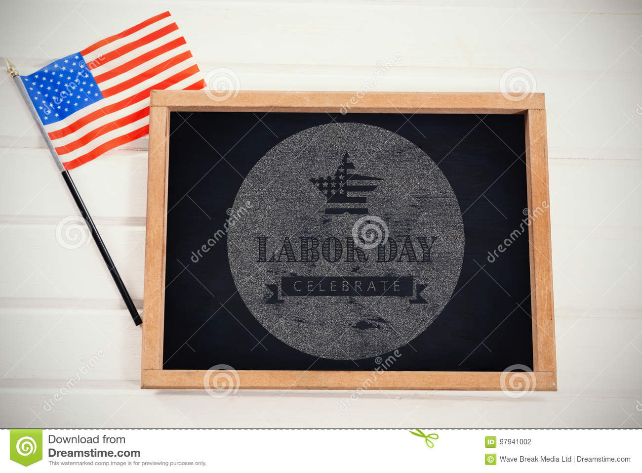 Composite image of digital composite image of celebrate labor day text with american flag on blue po