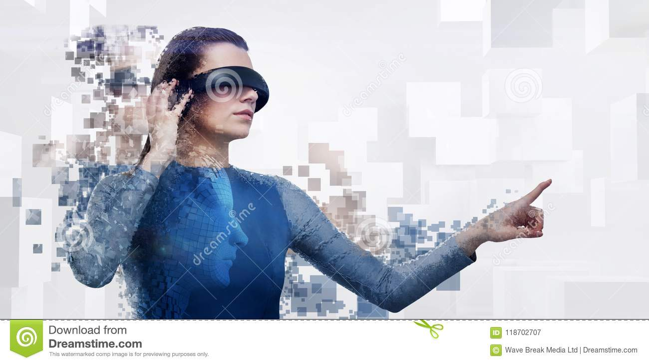 2f3c4086844 Composite image of digital composite of woman with a virtual reality  simulator
