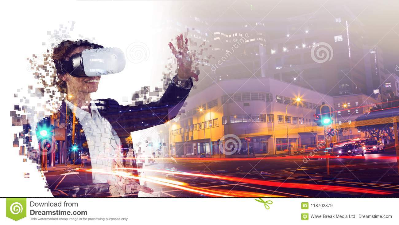 Composite image of digital composite of woman with a virtual reality simulator