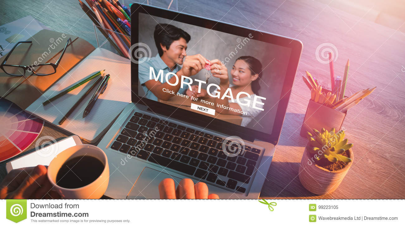 Composite image of digital image of mortgage web page and couple holding key