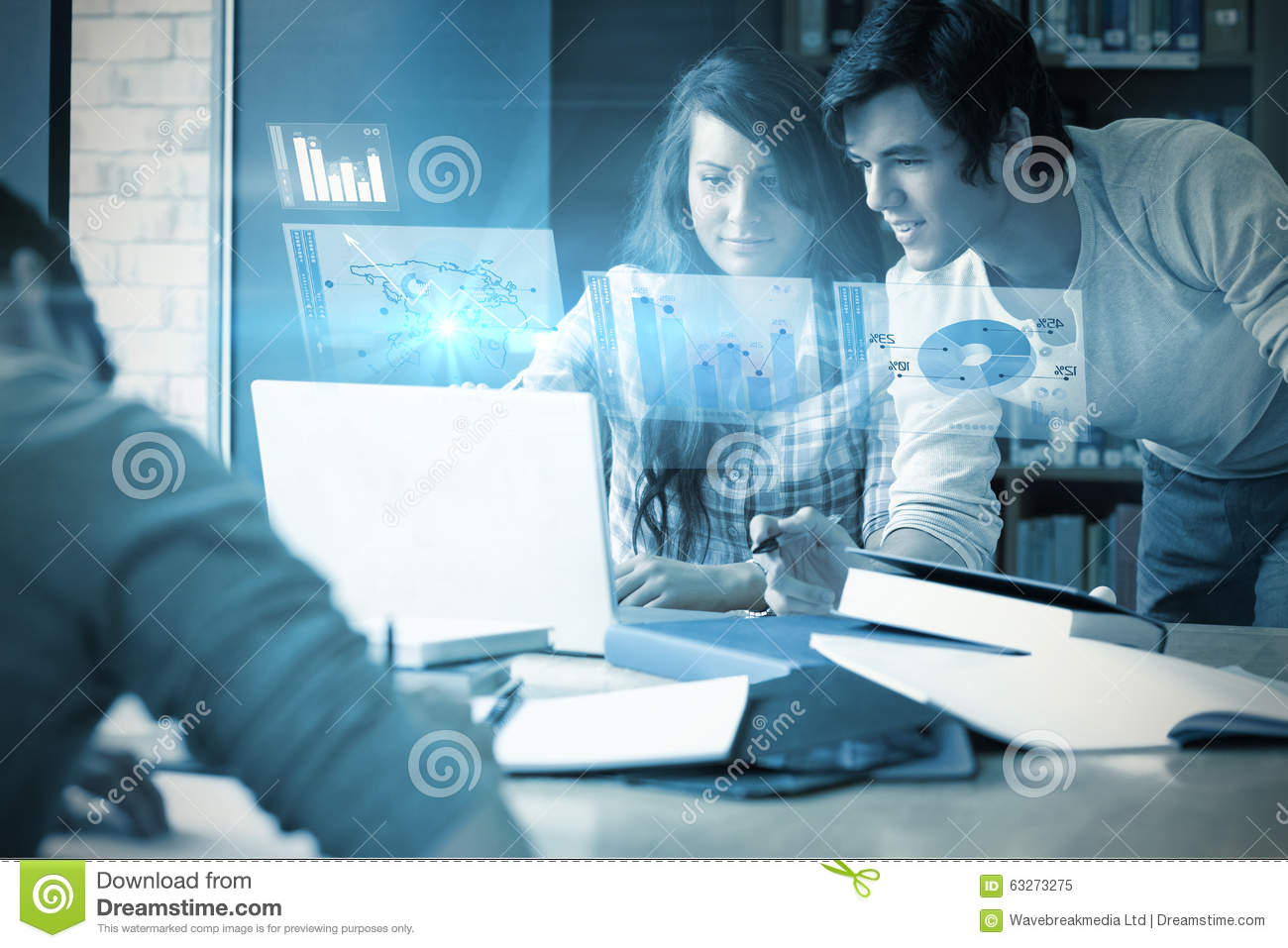 Download Composite Image Of Digitally Generated Image Of Pie Chart And Bar Graph Stock Image - Image of computer, circle: 63273275
