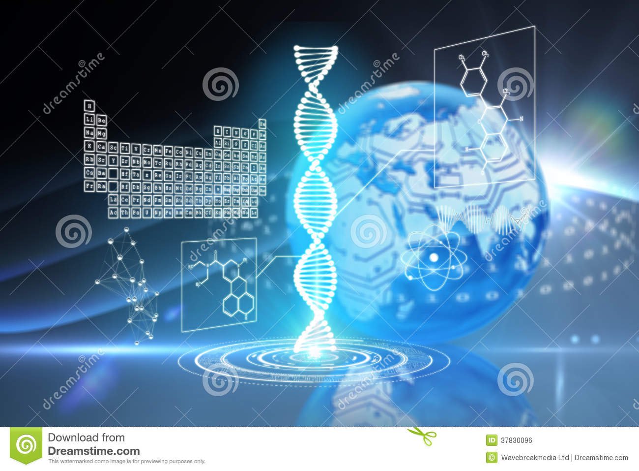 Composite Image Of Dna Helix Interface Royalty Free Stock ...