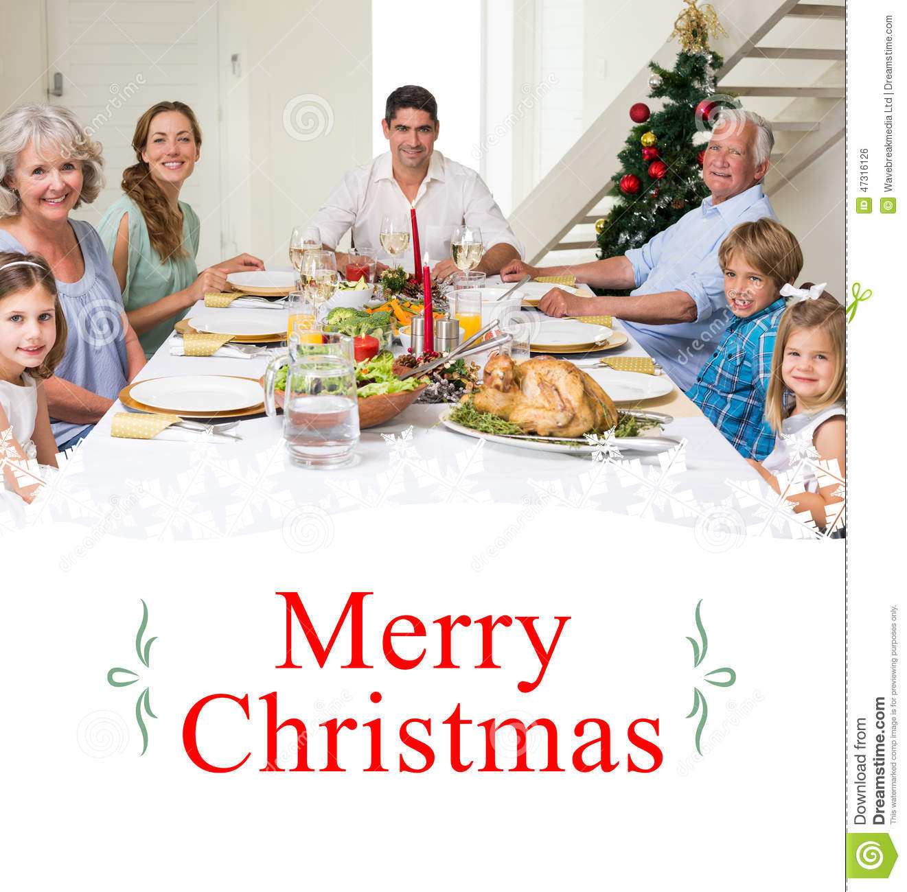 Composite image of family having christmas meal together