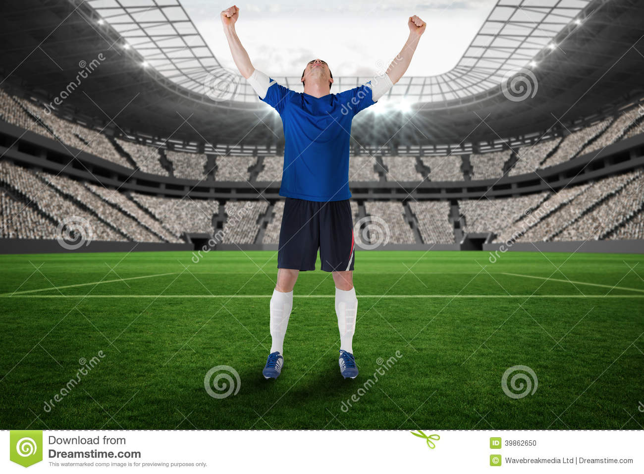 Composite Image Of Football Player Celebrating A Win Stock