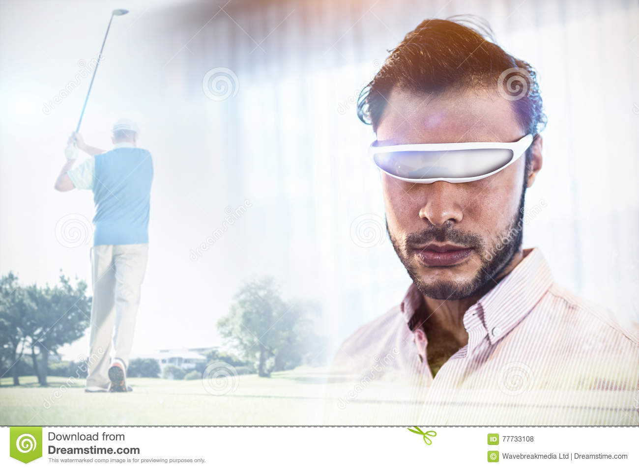 Composite image of golf player taking a shot