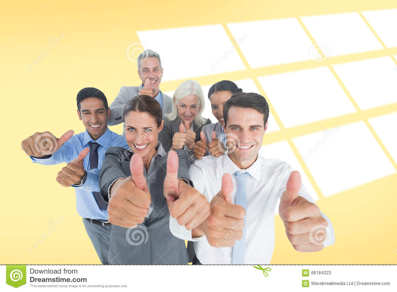 Happy people thumbs up