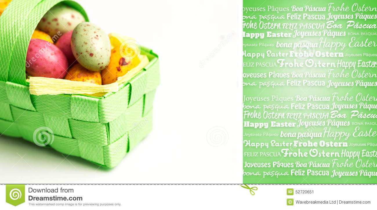 Composite image of happy easter in different languages for Green in different languages