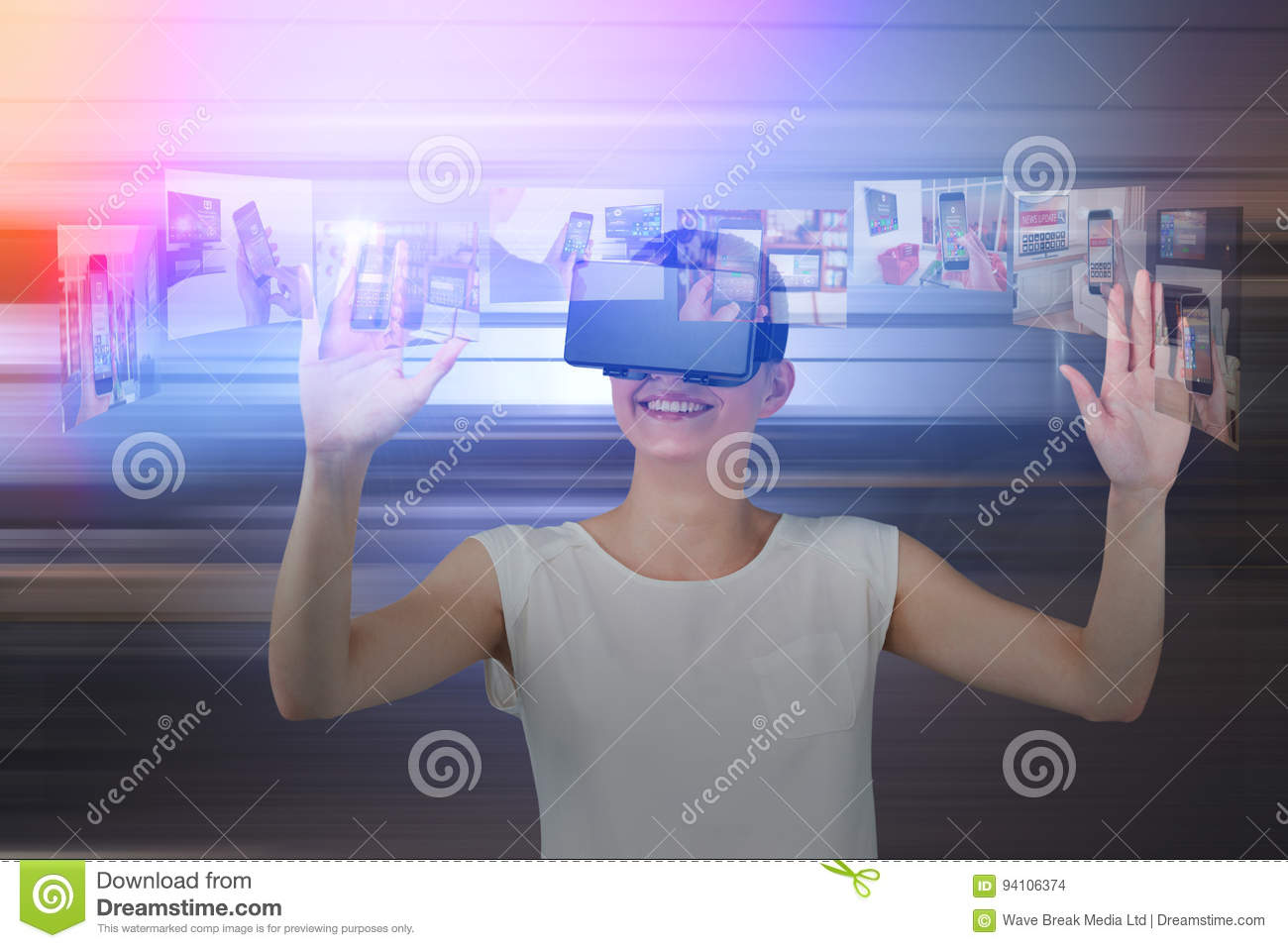 Composite image of happy woman gesturing while using virtual reality headset