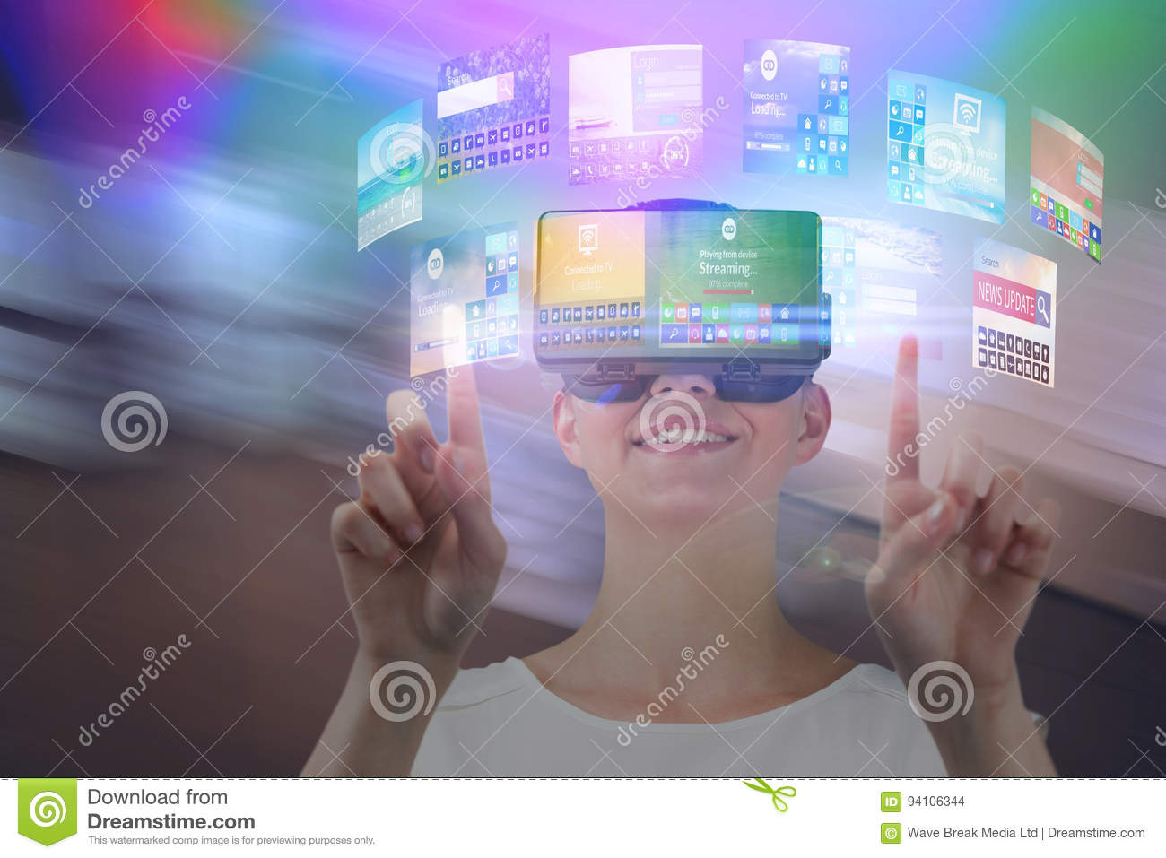 Composite image of happy woman pointing upwards while using virtual reality headset