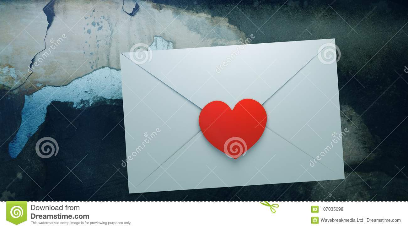 Composite image of love letter