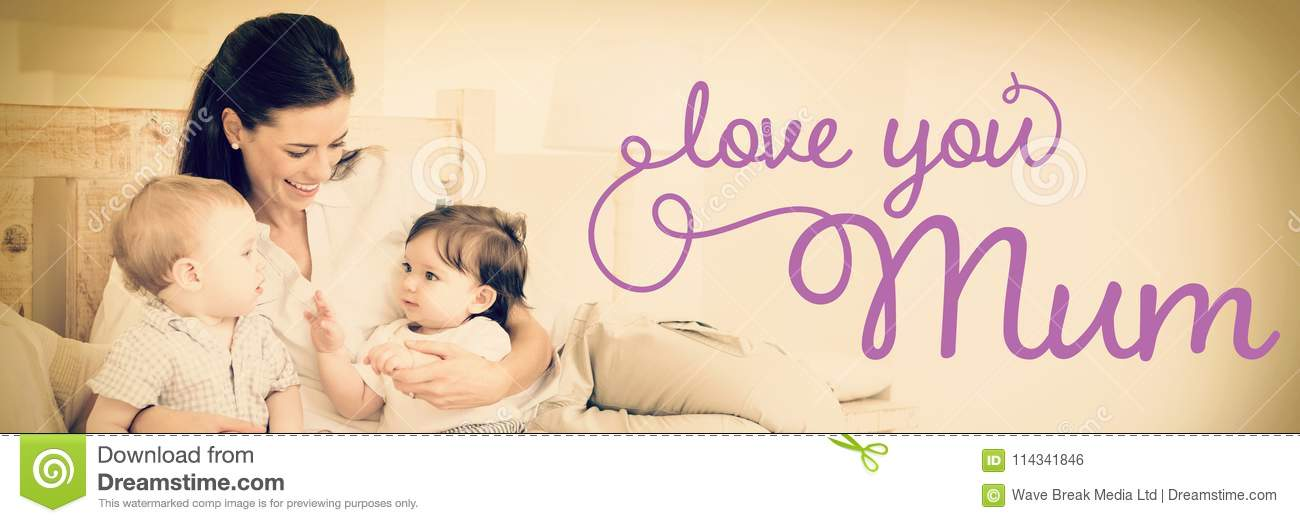 composite image of mothers day message stock photo image of family