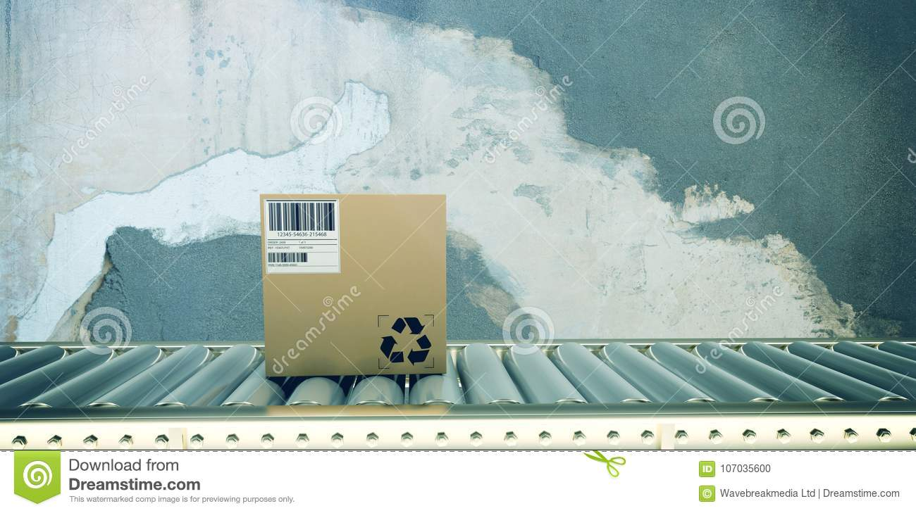 Composite image of packed carton box on production line