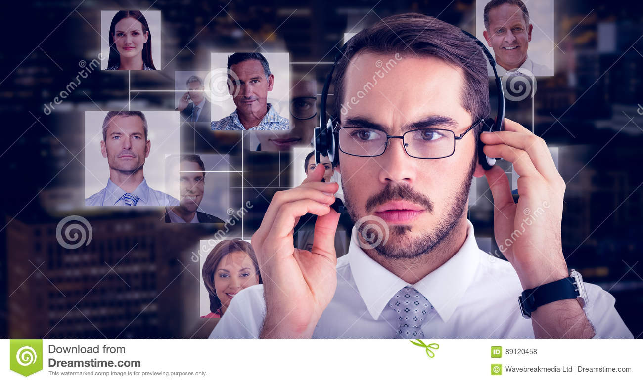 Composite image of portrait of a focused businessman with headphone