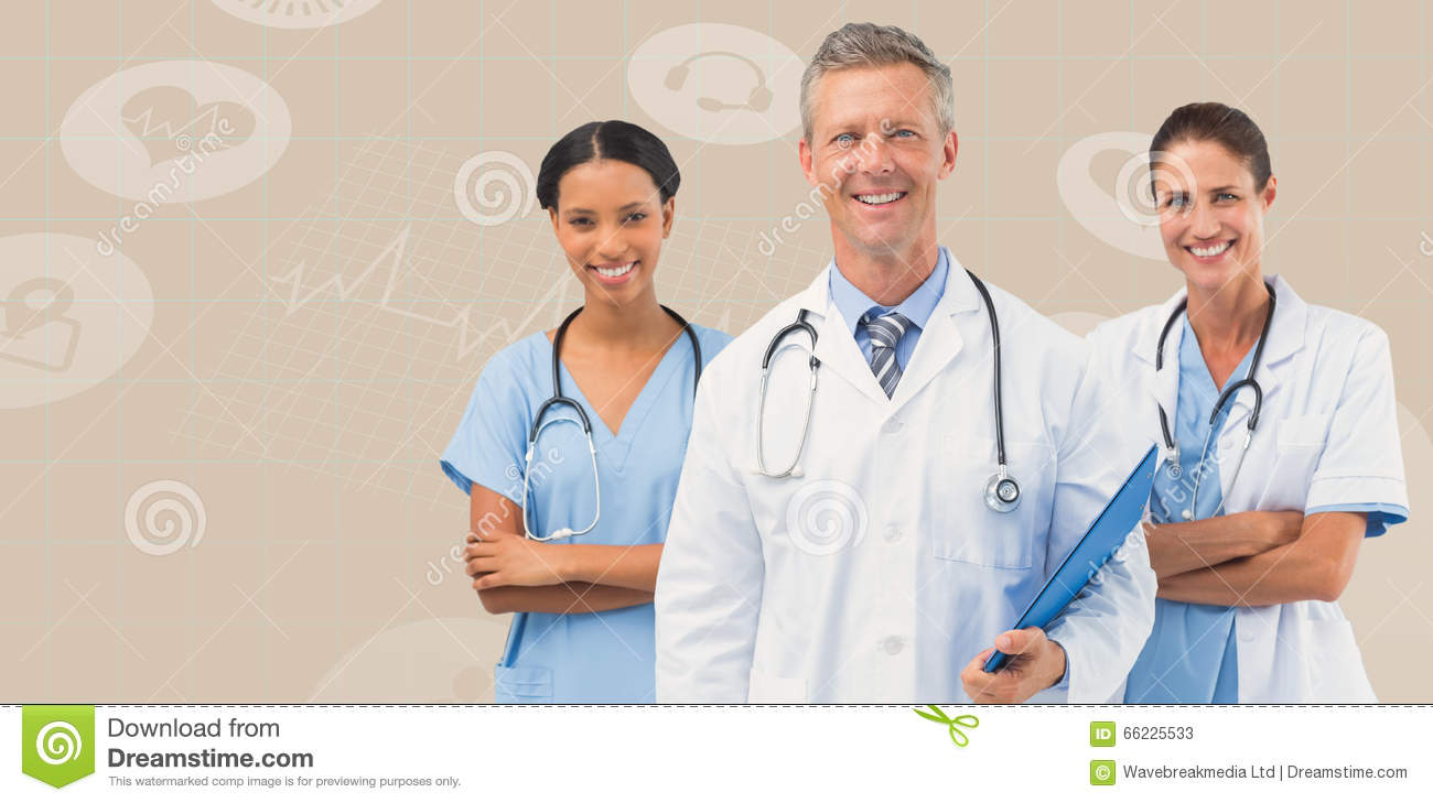 Composite image of portrait of male doctor with female staffs