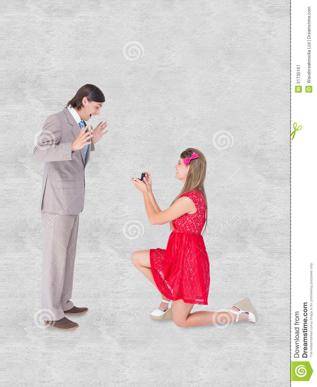 A Composite Image Of Pretty Hipster On Bended Knee Doing A