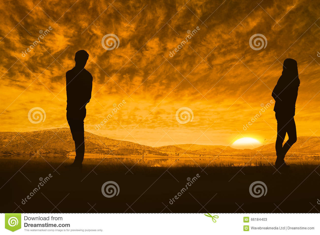 Composite image of sad couple standing back to back stock - Beautiful sad couple images ...