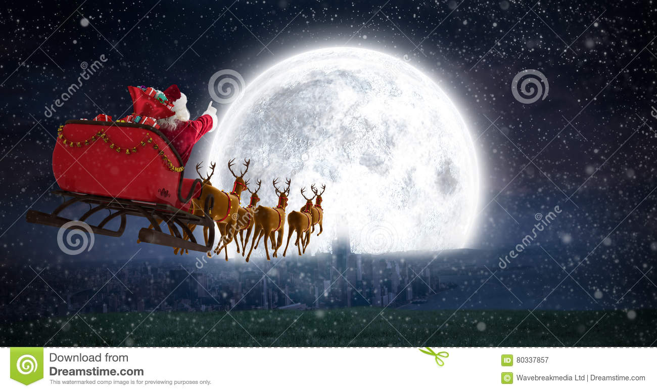 composite image of santa claus riding on sleigh with gift. Black Bedroom Furniture Sets. Home Design Ideas