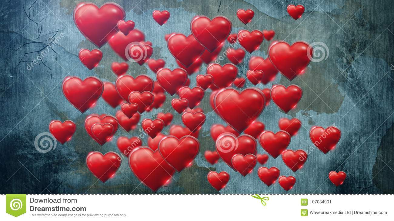 Composite image of several pink heart on white background valentines day