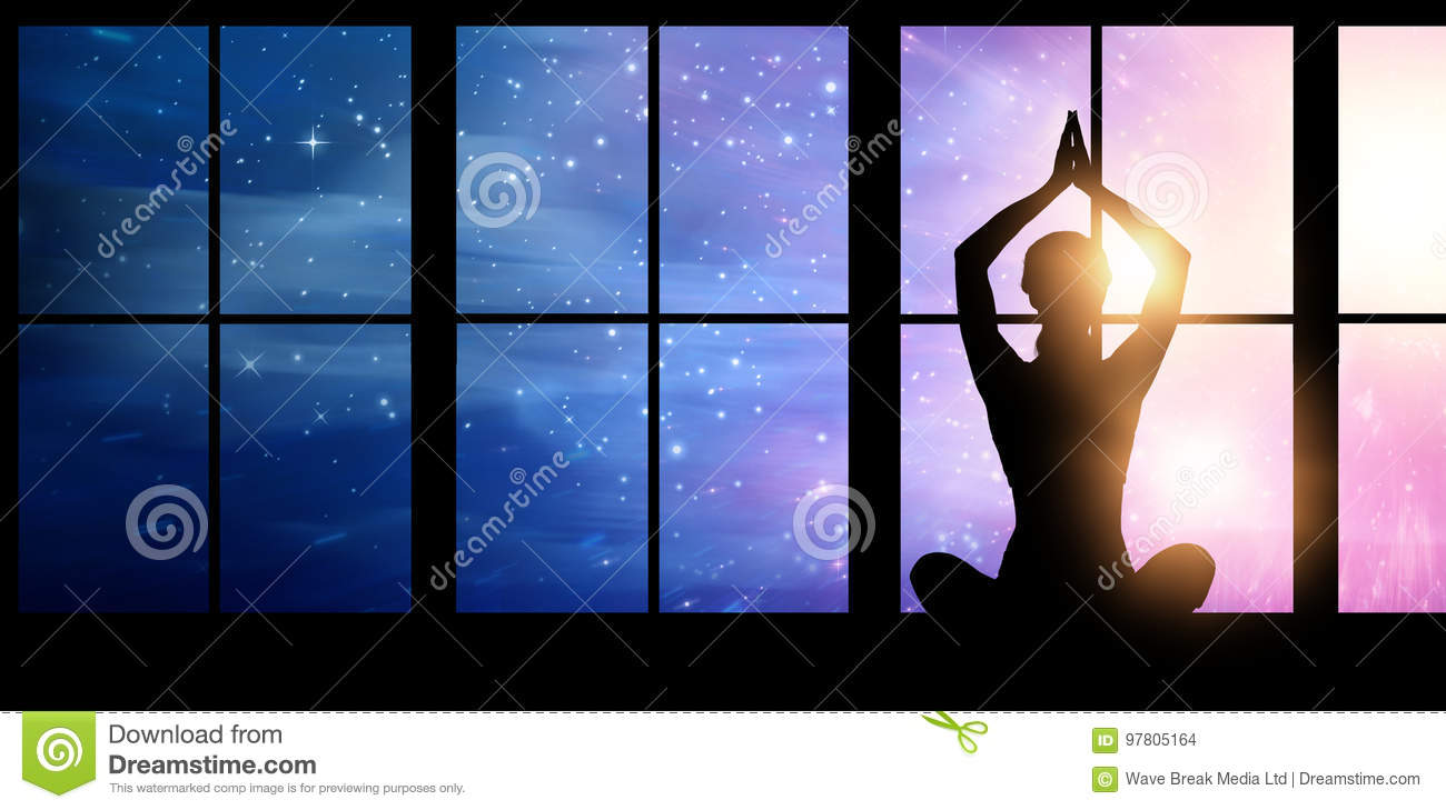 Composite image of silhouette female practicing yoga while sitting