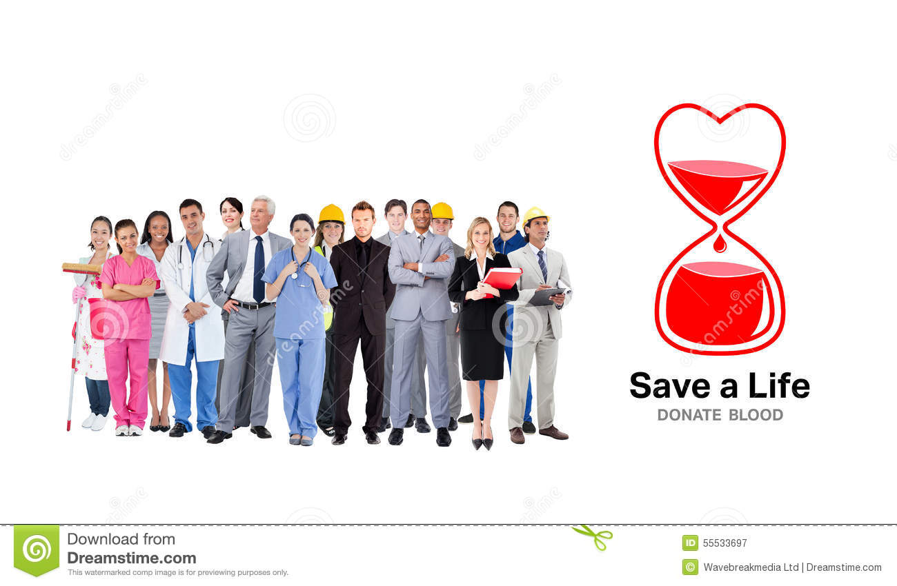 Composite Image Of Smiling Group Of People With Different Jobs Stock Image Image Of Cheerful Clinic 55533697